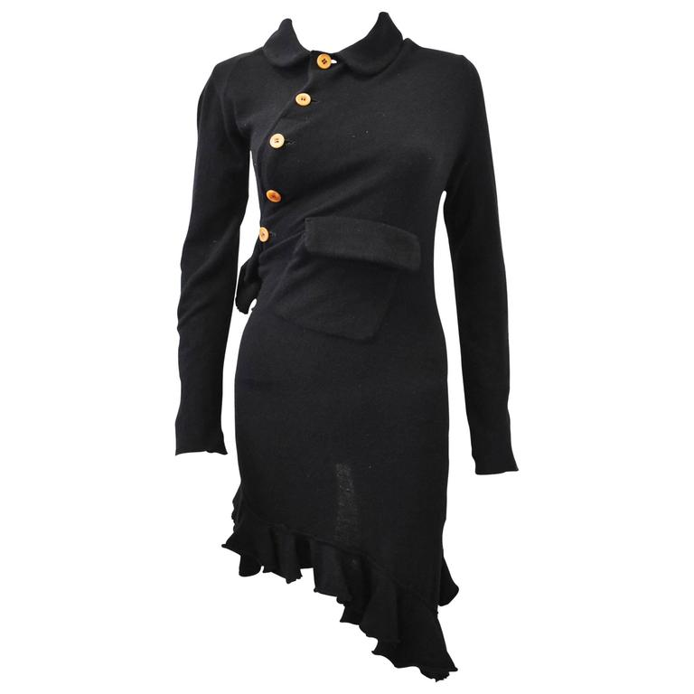 2002 Comme Des Garcons Black Twisted Knit Dress With