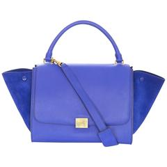 Celine Indigo Blue Suede/Leather Medium Trapeze Bag w/ Strap rt. $2,950