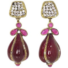 Chanel Vintage Crystal & Burgundy Gripoix Drop Clip-On Earrings