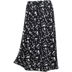1982 Yves Saint Laurent Crepe Musical Note Print Skirt Documented
