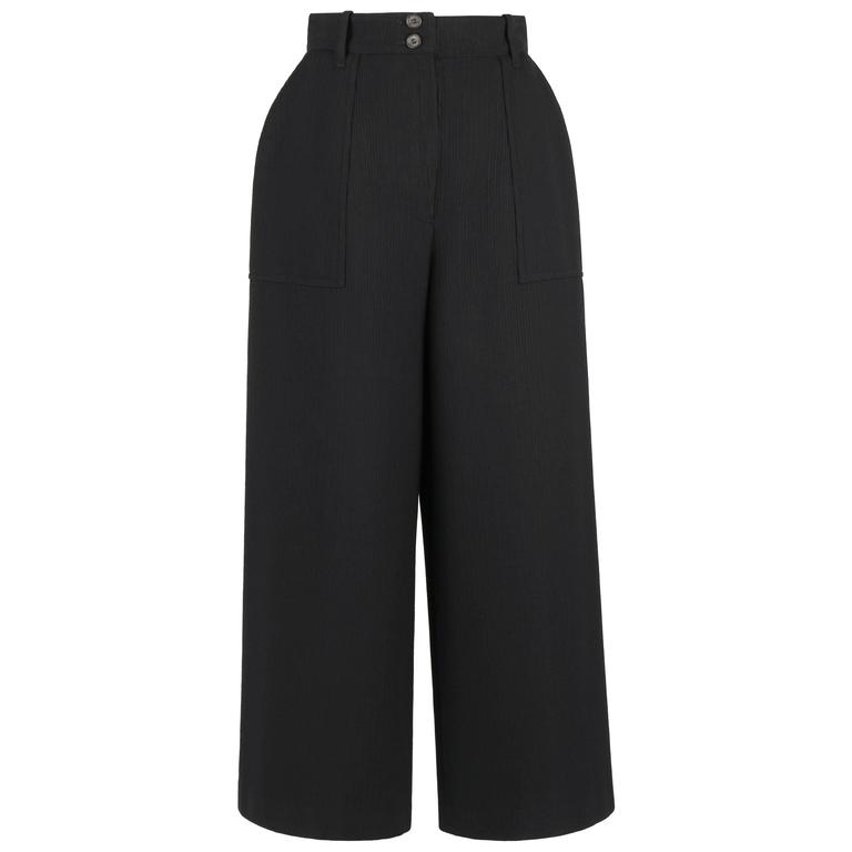 HERMES c.1990's Classic Black Wool High Waisted Wide Leg Pants