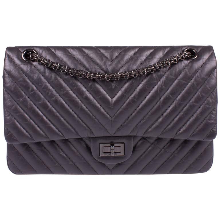 Chanel 2 55 Reissue Chevron 226 Flap Bag So Black At 1stdibs
