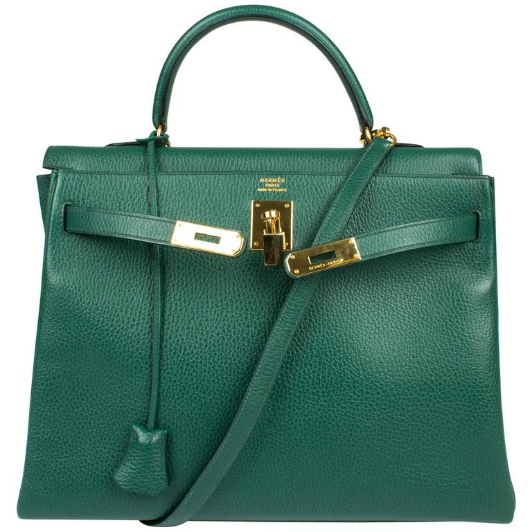 Hermès Kelly Bag 35 Clemence Leather - Emerald Green at 1stdibs
