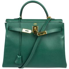 Hermès Kelly Bag 35 Clemence Leather - Emerald Green