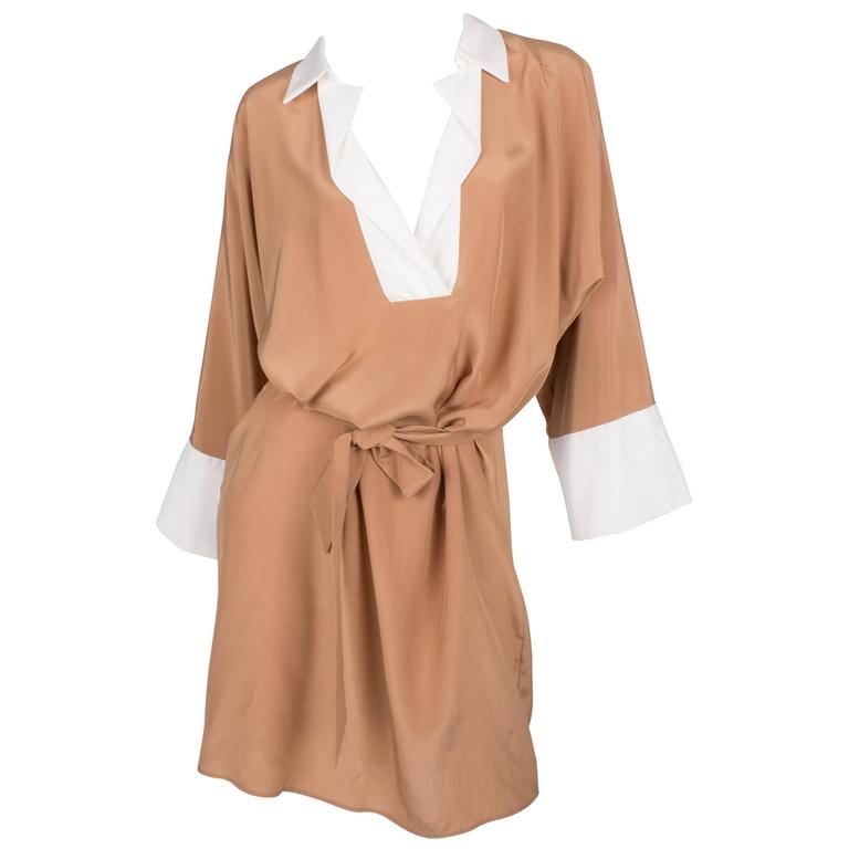 Salvatore Ferragamo Silk Dress - camel/white For Sale