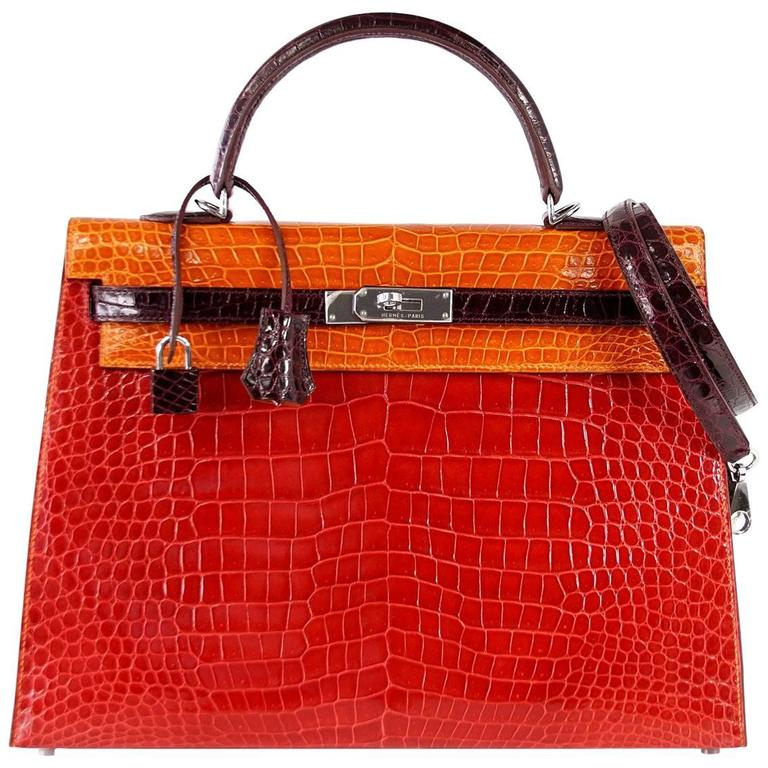 HERMES Kelly 35 Bag Tri Color Horseshoe Porosus Crocodile Palladium For Sale
