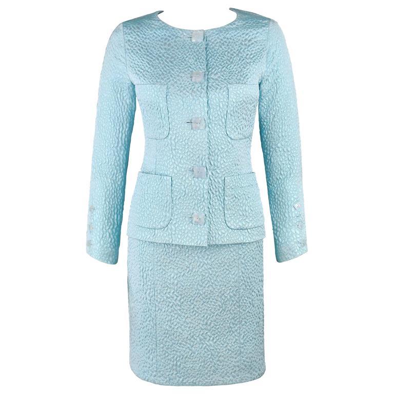 CHANEL Boutique c.1980's Light Blue Metallic Matelasse Blazer Skirt Suit