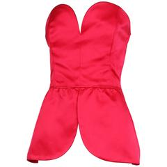 Vintage Yves Saint Laurent Hot Pink Satin Peplum Bustier