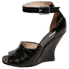 new DRIES VAN NOTEN black crocodile embossed wedge heels with ankle straps - 41