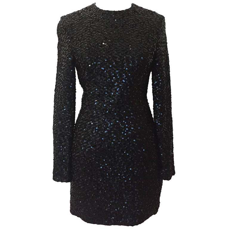 Carolyn Roehm Black Long Sleeve Sequin Cocktail Dress 1
