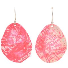 Sterling Silver Hot Pink and Cream Screen Printed Paper Earrings Small