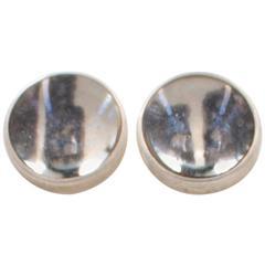 Screen Printed Paper and Sterling Silver Lens Stud Earrings