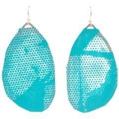 Sterling Silver Turquoise and Cream Screen Printed Paper Earrings
