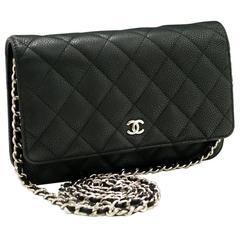 CHANEL Caviar Wallet on Chain WOC Dark Gray Shoulder Bag Crossbody