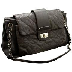 CHANEL Caviar Chain Shoulder Bag Dark Brown Silver Quilted Flap