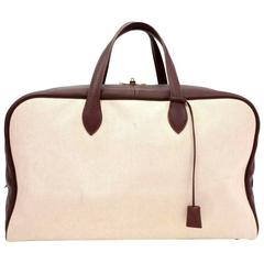 Hermes Victoria 50 Beige Canvas x Brown Leather Large Boston Bag