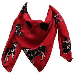 Sphinx Red Cow Silk Scarf