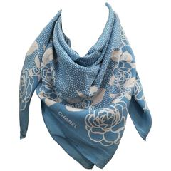 Chanel light blu white flower Camelia Silk Foulard