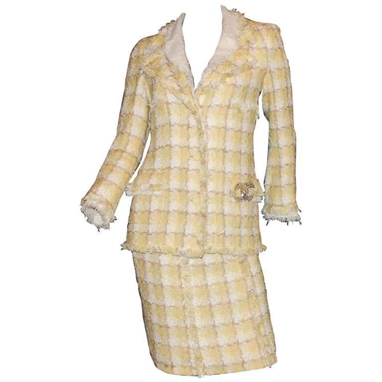 CHANEL Frayed Signature Lesage Fantasy Tweed CC Logo Fringe Skirt Suit