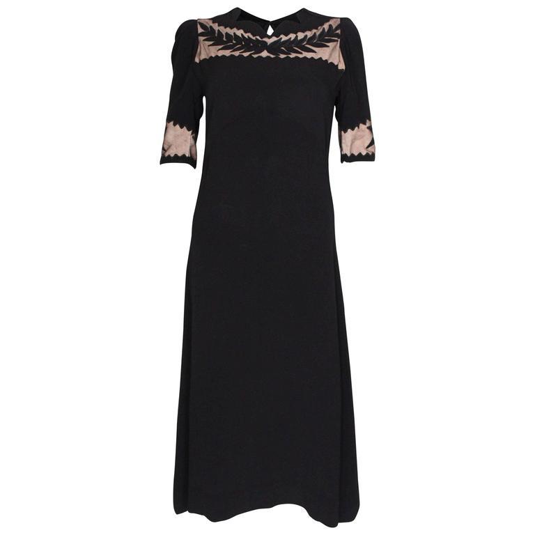 1940s Black Crepe Leaf Detail Applique Dress For Sale