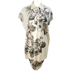 Gianfranco Ferrè 1980s dress shirt skirt animalier beige viscose cotton size 44