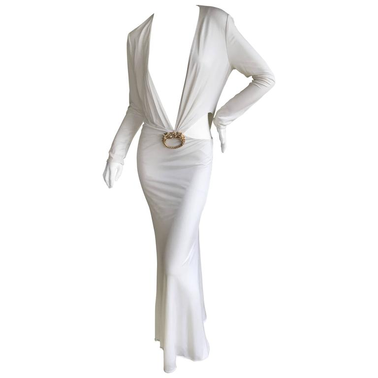 d16ee4c77c5 Gucci by Tom Ford Ad Campaign Low Cut White Dress with Gold Jeweled Dragon  For Sale