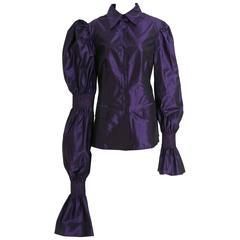 1990s GIANFRANCO FERRE' Purple Taffeta Blouse Jacket