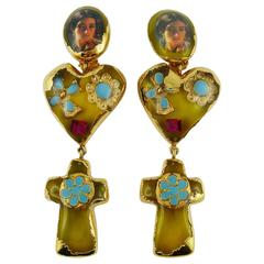Christian Lacroix Vintage Massive Baroque Resin Inlaid Dangling Earrings