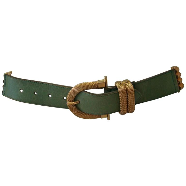 Doppia Vita Green Leather And Gold Chain Belt 1980's For Sale