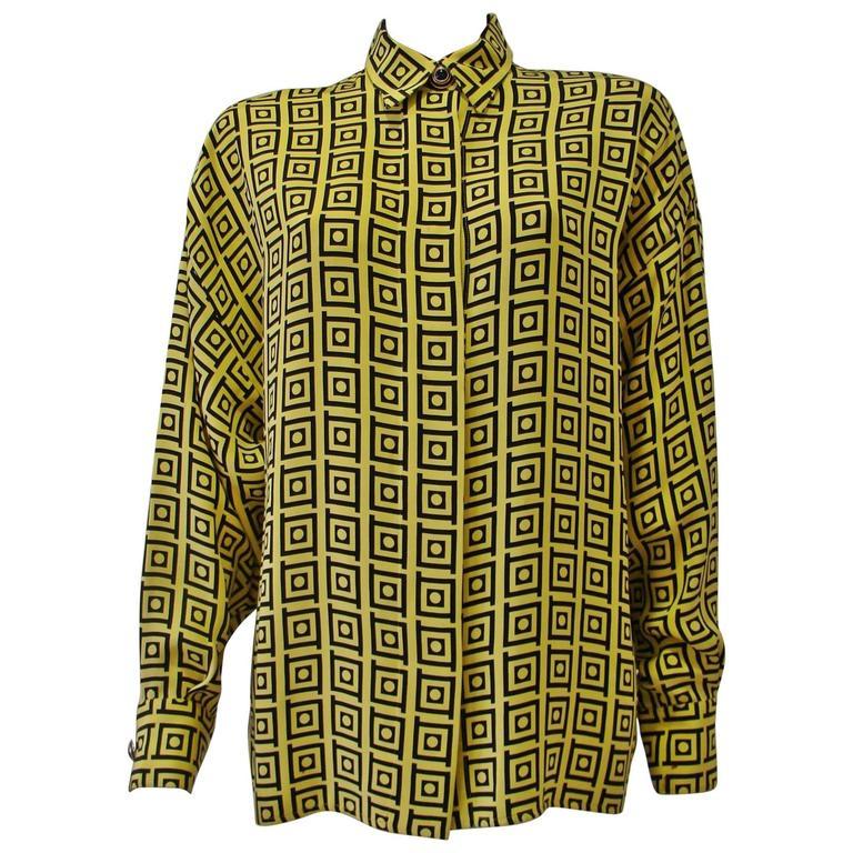 Gianni Versace Optical Silk Crepe De Chine Printed Shirt Fall 1991 1