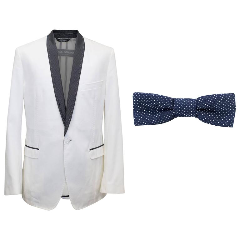 Dolce and Gabbana White Dinner Jacket with a Bow Tie For Sale