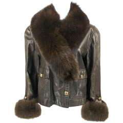 1980s Chanel Brown Leather Jacket With Fox Fur Cuffs and Removable Collar