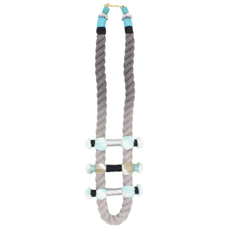 Split Rope Necklace (Grey/Turquoise) For Sale