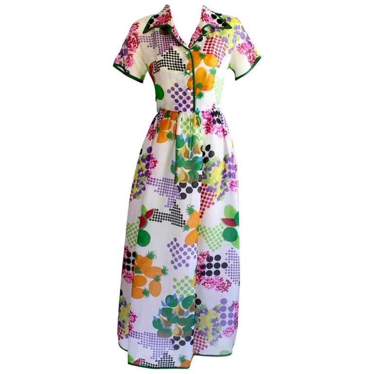 Nina Ricci Boutique Fruit and Dots Multicolor Print Silk Organza Dress, 1970s  For Sale