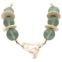 Moose Antler Rattle Snake Resin Bead Necklace