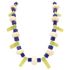 Jade Coral Lucite Glass Mixed Media Necklace