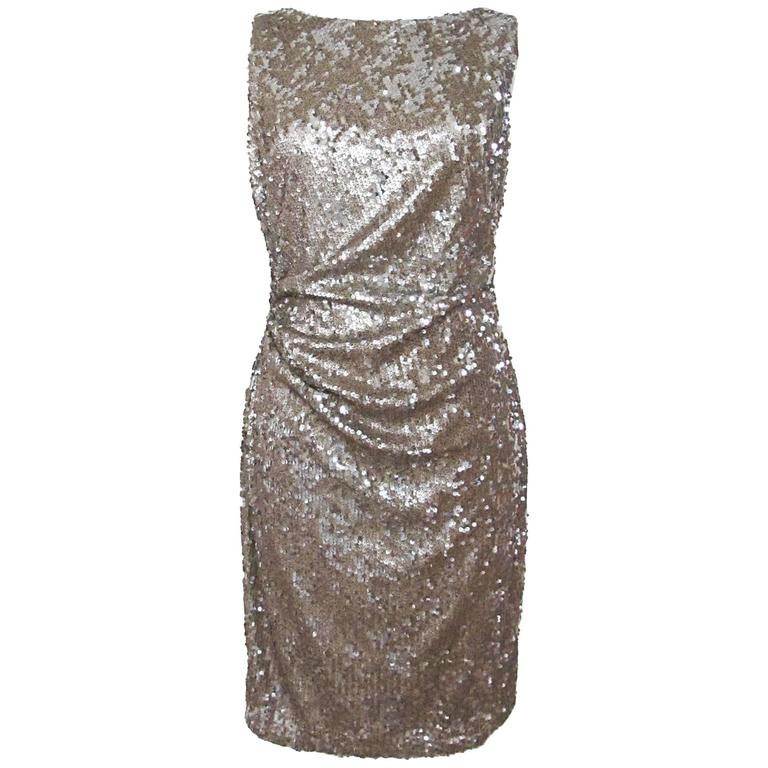 NWT David Meister Gold Sequiin Embellished Sheath Dress  1
