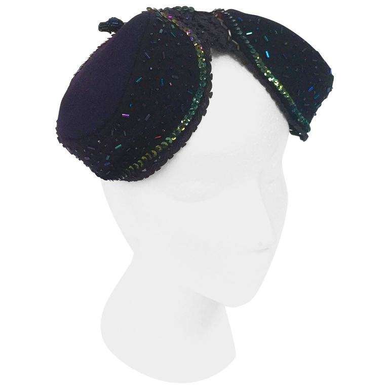 1940s Pierre - Renand Navy Iridescent Sequined and Beaded Evening Hat