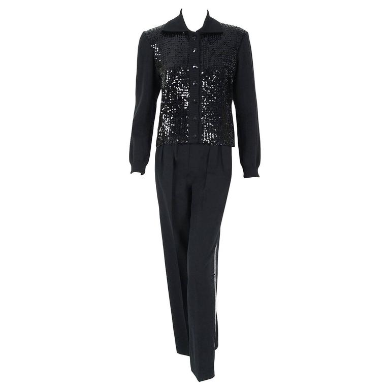 1974 Yves Saint Laurent Sequin Black Wool Sweater Le Smoking Tuxedo Pants Suit