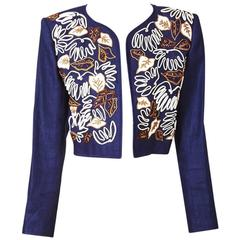 Yves Saint Laurent Matisse Inspired Linen Cropped Jacket