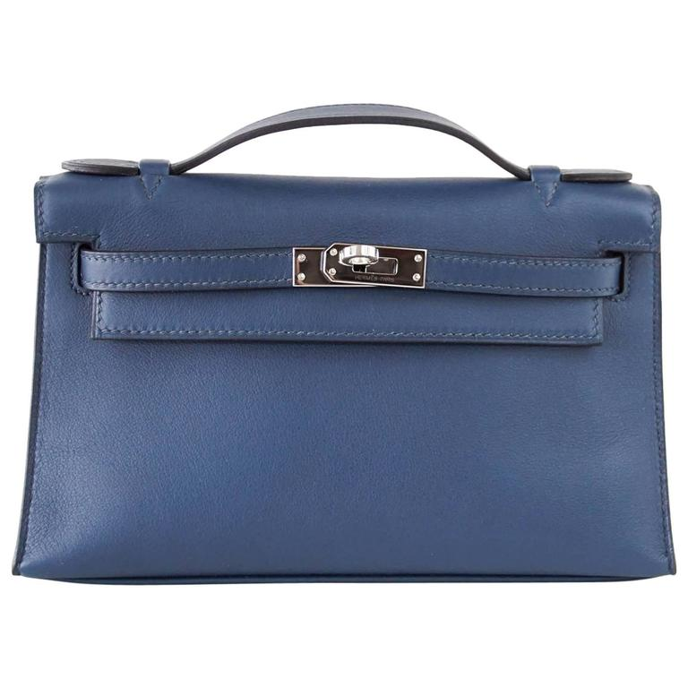 HERMES Kelly Pochette Bag Clutch Bleu de Prusse Palladium Hardware Rare For Sale