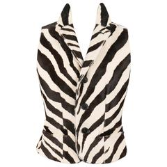 RALPH LAUREN Collection Zebra Print Calf Hair Safari Vest NWT
