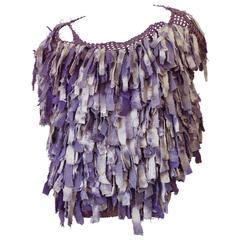 Avant Garde 1980s Purple Fringe Top
