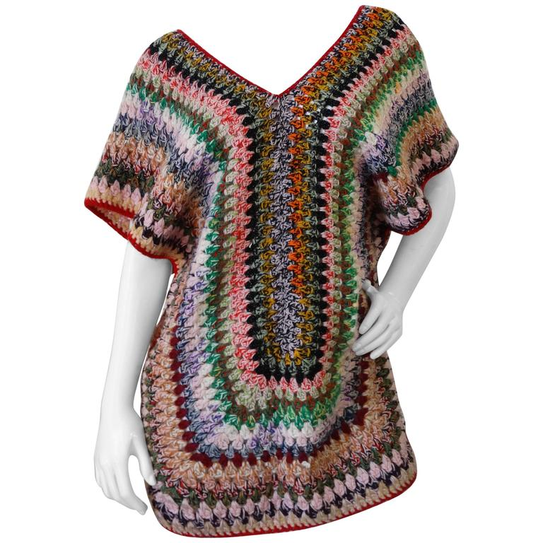 Chic 1970s Bohemian Multicolored Knit Poncho Top