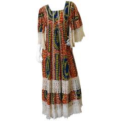 1970s African Viscose Batik Maxi Dress with Lace