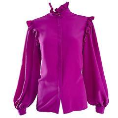 Oscar de la Renta 1970s Magenta Fuchsia Pink Silk Bishop Sleeve Vintage Blouse