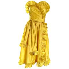 Bill Blass Vintage 1980s Canary Yellow Silk Taffeta Ruffle Strapless 80s Dress