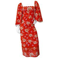 1970s Betty Carol Floral Off Shoulder Maxi Dress