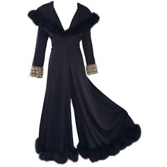 Spectacular 1970s Couture Black Jersey + Feathers Wide Leg Palazzo Jumpsuit 70s