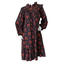 French 1970s Paisley Ruffle Prairie Midi Dress